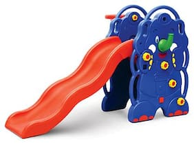 Ok Play Elephant Slide, Foldable Slide for Kids, easily assembled and dismantled, Red & Blue, 2 to 4 Years