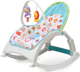 Fiddle Diddle Baby Bouncer Cum Rocker With Vibration Function, Amplitude Adjustment And 2 Toys (White)