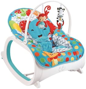 Fiddle Diddle Baby Bouncer Cum Rocker with Vibration Function, Amplitude Adjustment and 2 Toys (Elephant Blue)