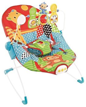 Fiddle Diddle Baby Bouncer Cum Rocker with Vibration Function, Music,Three Position Recline, Bouncy Action and 3 Toys (Zebra Yellow)