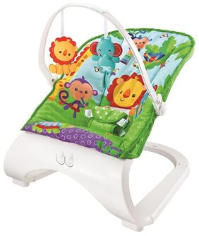 Fiddle Diddle Baby Bouncer Cum Rocker with Vibration Function, Music and 2 Toys (Purple & Green)