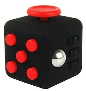 Fidget Cube Toy Relieves Stress & Anxiety for Children and Adults Attention & Focus Improvement Game Black & Red