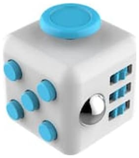 Fidget Cube Relieves Squeeze Fun Stress Reliever Anxiety and Stress Cube White & Blue