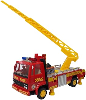 Fire Ladder Truck Miniature Automobile toy (Pull Back Action) Contents may vary from illustrations.