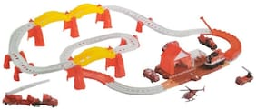 Fire Station Theme Track Play Set Railroad Tracks w/ Battery Operated Train & 7 Fire Rescue Vehicles