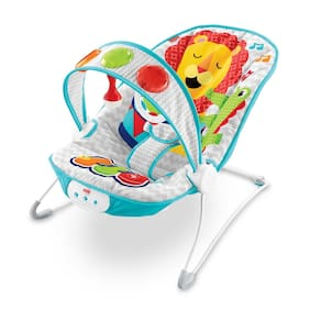 Fisher-Price Kick 'n Play Jungle Musical Bouncer Baby Music Vibration Lion Seat