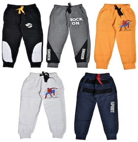 Flash Fashion Cotton Printed Multi Color Joggers For Boy (Pack Of 5)