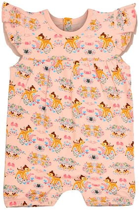 THE FLYBEES Cotton Printed Dungaree For Girl - Multi