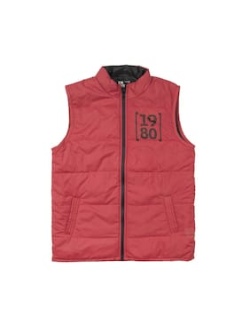 Flying Machine Boy Polyester Solid Winter jacket - Red