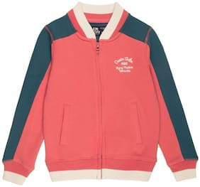 Flying Machine Boy Cotton Colorblocked Winter jacket - Red