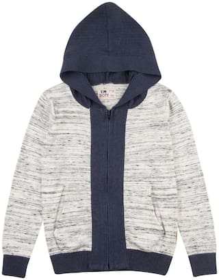 Flying Machine Boy Cotton Solid Sweater - Grey