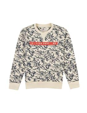 Flying Machine Boy Cotton Printed Sweatshirt - White
