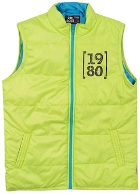 Flying Machine Boy Polyester Solid Winter jacket - Green