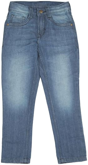 Flying Machine Blue Cotton Boys Stone Wash Skinny Fit Jeans