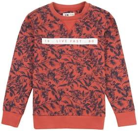 Flying Machine Boy Cotton Printed Sweatshirt - Orange