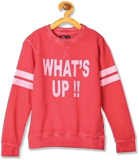 Flying Machine Boy Cotton Solid Sweatshirt - Red