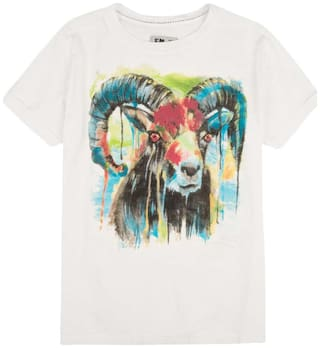 Flying Machine Boy Cotton Printed T-shirt - White