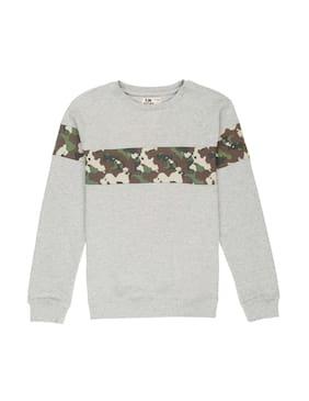 Flying Machine Boy Cotton Printed Sweatshirt - Grey