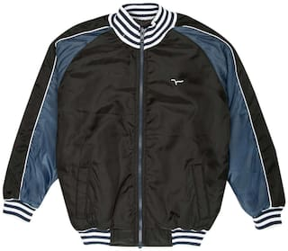 Flying Machine Boy Polyester Colorblocked Winter jacket - Black