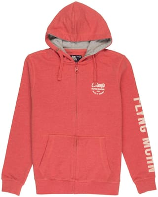 Flying Machine Boy Cotton Solid Sweatshirt - Red