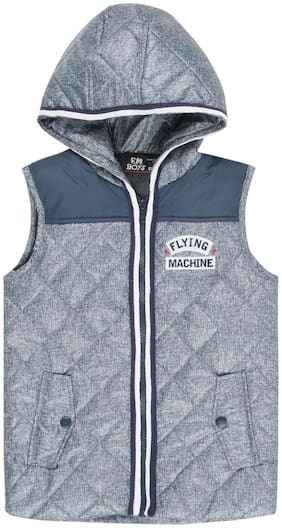 Flying Machine Boy Polyester Solid Winter jacket - Blue
