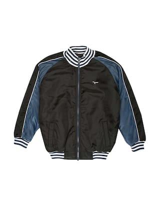 Flying Machine Boy Polyester Colorblocked Winter jacket - Black