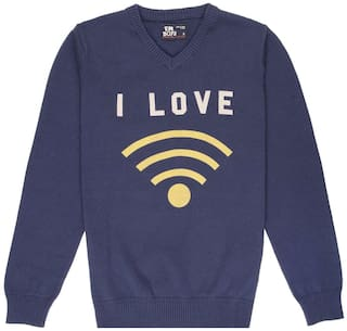 Flying Machine Boy Cotton Printed Sweater - Blue