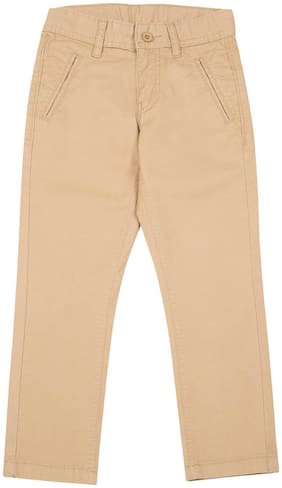 Flying Machine Brown Cotton Boys Slim Fit Cotton Stretch Trousers