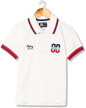Flying Machine Boy Cotton Solid T-shirt - White