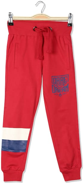 Flying Machine Boy Printed Trousers - Red