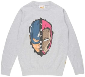 Flying Machine Boy Cotton Printed Sweater - Grey