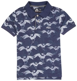Flying Machine Boy Cotton Solid T-shirt - Blue
