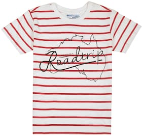 Flying Machine Boy Cotton Striped T-shirt - White