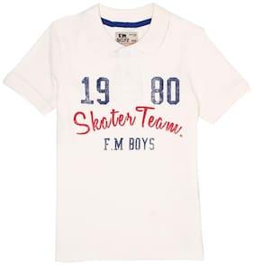 Flying Machine Boy Cotton Printed T-shirt - White