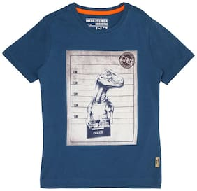 Flying Machine Boy Cotton Printed T-shirt - Blue