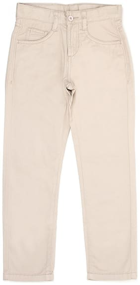 Flying Machine Boy Solid Trousers - Beige