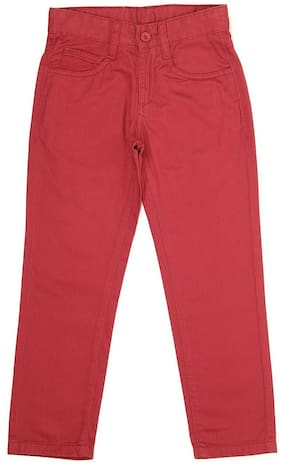 Flying Machine Boy Solid Trousers - Red