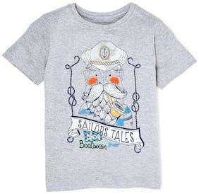 Flying Machine Boy Cotton Printed T-shirt - Grey