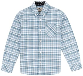 Flying Machine Boy Cotton Checked Shirt Blue