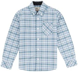 Flying Machine Boy Cotton Checked Shirt Blue