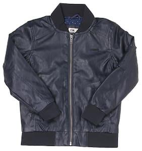 Flying Machine Boy Blended Solid Winter jacket - Grey