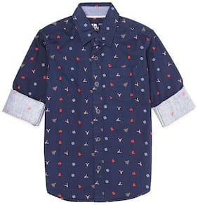 Flying Machine Boy Cotton Printed Shirt Blue