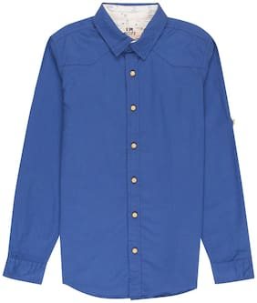 Flying Machine Boy Cotton Solid Shirt Blue