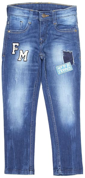 Flying Machine Boys Blue Applique Casual Jeans