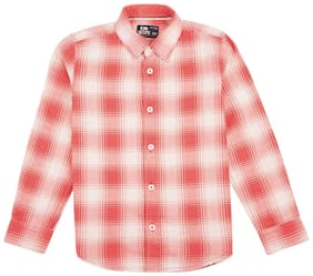 Flying Machine Boy Cotton Solid Shirt Pink