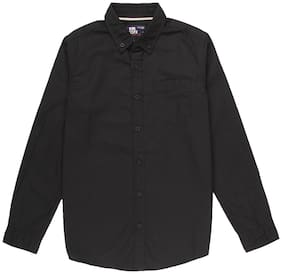 Flying Machine Boy Cotton Solid Shirt Black