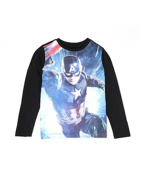 Flying Machine Boy Cotton Printed T-shirt - Black