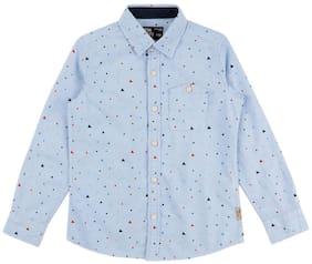 Flying Machine Boy Cotton Printed Shirt Blue