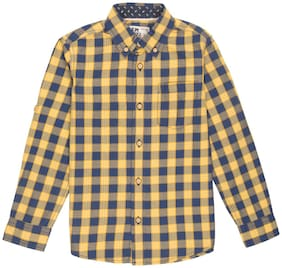 Flying Machine Boy Cotton Checked Shirt Yellow & Blue