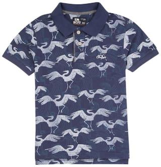 Flying Machine Boy Cotton Solid T-shirt - Blue